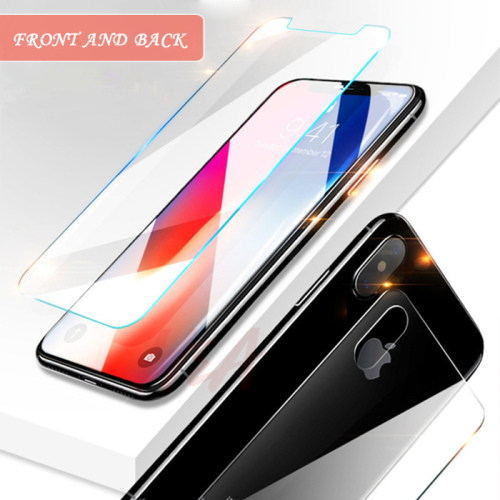 2Pcs Front+Back 9H Tempered Glass For iPhone X 8 7 6 5 SE Plus