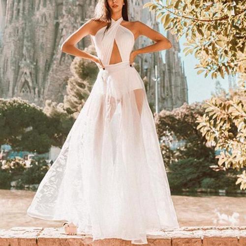 Sexy Elegant Halter Backless Mesh Perspective Evening Dress