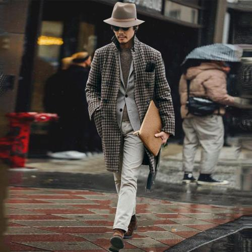 New Men's Fashion Woolen Long Coat