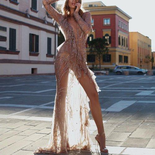 V-neck elegant slim sexy evening dress