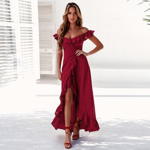 sexy word shoulder Lotus leaf Evening Dress Elegant Pure color evening Dresses Formal Party Long Open fork Evening Gown