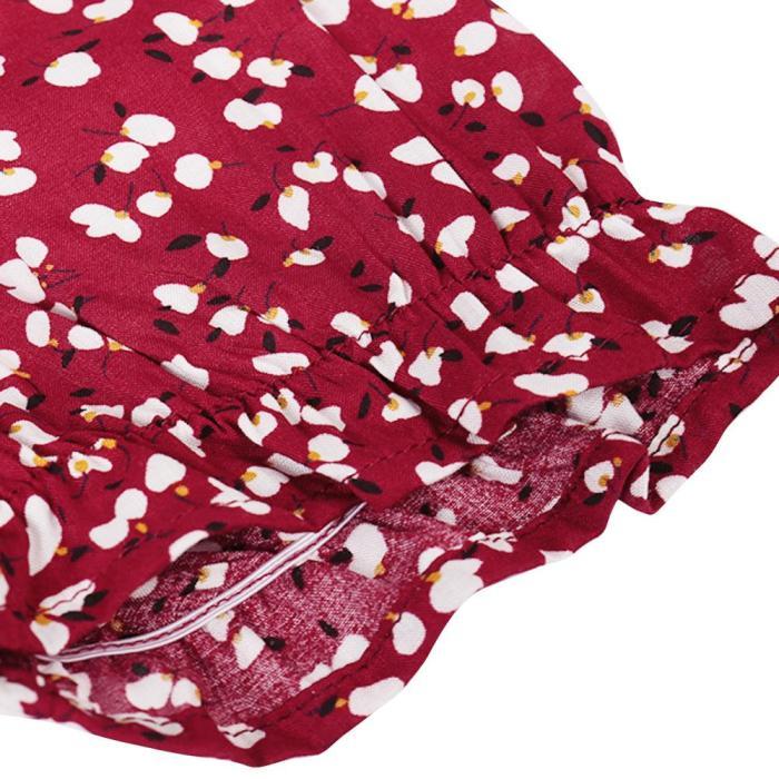2020 Summer Woman Dresses Floral Print Square Collar Neck Short Sleeve Casual High Waist Knee-Length Loose Woman Dress