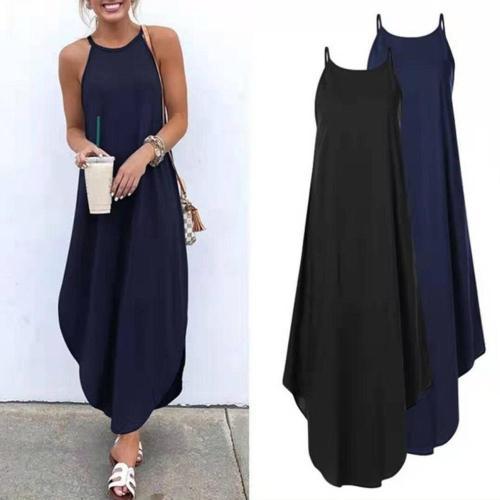 Women Dress Summer 2020 Casual Sleeveless Retro Halter Solid Beach Long Dress Round Neck Sling Fashion Beach Clothes Plus Size