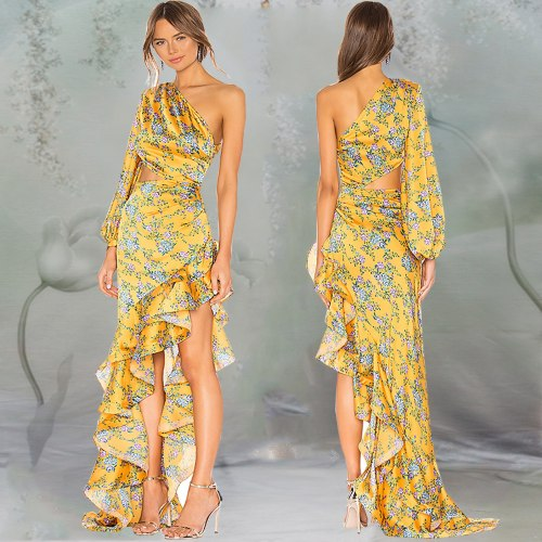 Ruffles Off Shoulder Asymmetry Printing Maxi Dresses