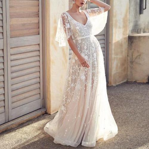 Sexy Evening Dress Lace Halter Evening Dress