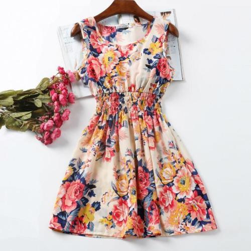 20 Colors Casual Women Sexy Chiffon Dress Sleeveless Sundress Print Beach Floral Tank Mini Dresses Vestidos