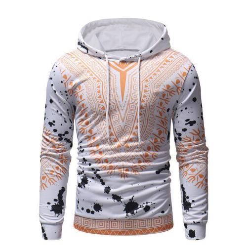 Casual Sport Floral Printed Long Sleeves Cotton Hoodie
