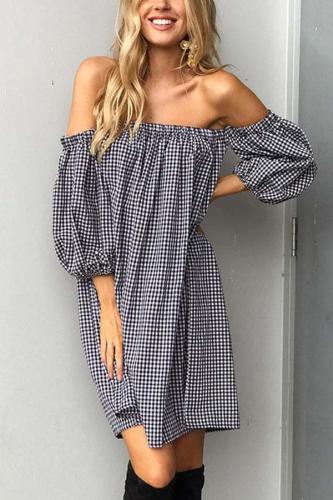 Off Shoulder  Gingham  Long Sleeve Casual Dresses