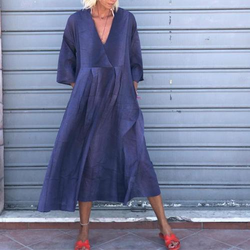 Commuting V Neck  Long Sleeve Pure Colour Dress