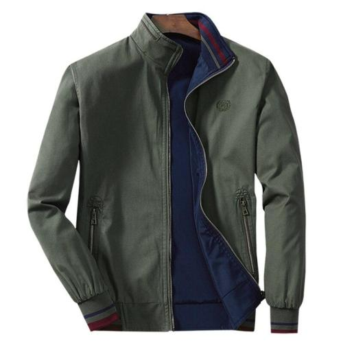 men's Jacket zipper 100% Pure Cotton Two-sided Clothes Homme Double-sided Surface Wear new male cusual jackets Brand coat M- 4XL
