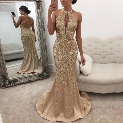 Elegant Sexy Deep V Halter Paillette Backless Evening Dress