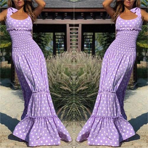 Sexy Polka Dot Boat Neck Sleeveless Elastic High-Waist Dress