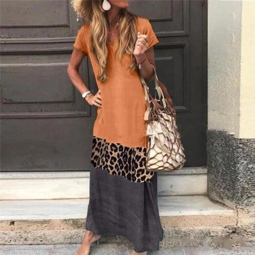 Vintage Leopard Patchwork Sundress Loose V Neck Short Sleeve Maxi Dresses 2020 Women Casual Dress Long Vestidos Plus Size
