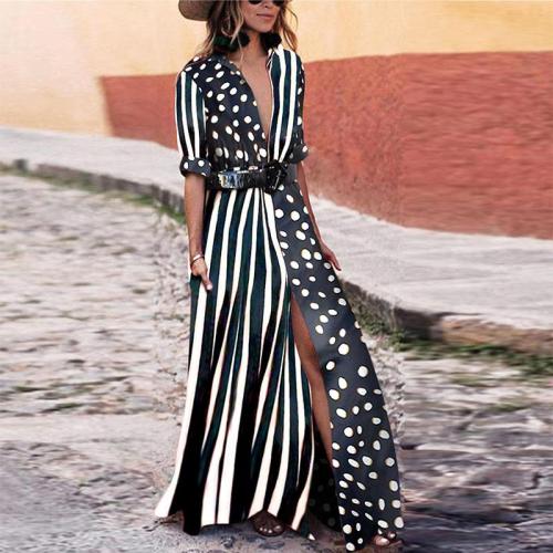 Flash Sale Fashionable V-Neck Striped Polka Dot Vacation Dress