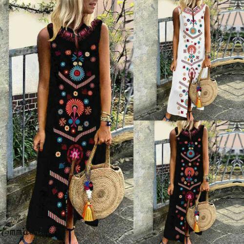 Women Summer Floral Boho Chic Printed Sleeveless Slit Loose Plus Size Sleeveless Evening Beach Dress Long Maxi Dresses Sundress