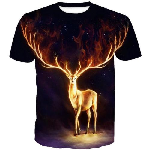 3D Flame Elk Print Galaxy Men Fashion Funny Short Sleeve T-Shirt Tops