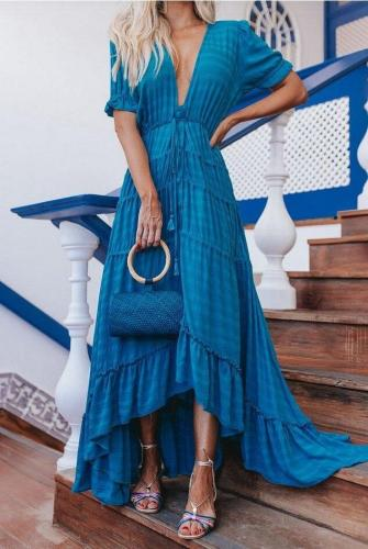 V-Neck Ruffles Asymmetry Bohemian Dresses Plus Size White Blue Long Summer Dresses Women 2020 Maxi Dresses