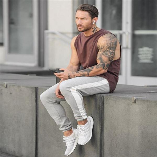 Casual Fashion Sport Youth Loose Strip Elastic Waist Pants