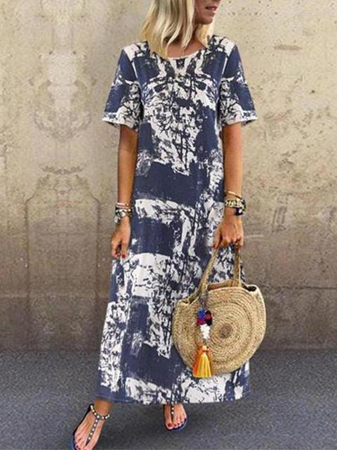 Vintage Print Loose Casual Maxi Dress