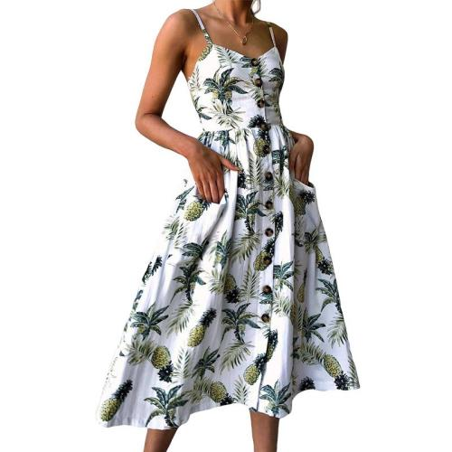 Sexy V Neck Backless Floral Boho Striped Button Sunflower Casual Dresses