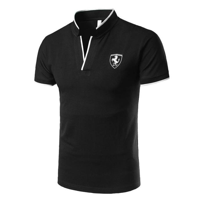 Men Daily Sports Stand Neck Active Slim Polo T Shirt
