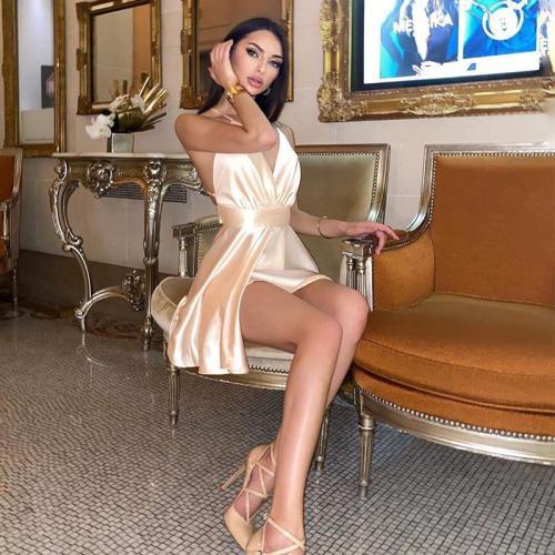 Satin Sexy Backless Sleeveless Party Night Club Wrap Mini Dresses Spaghetti Straps Elegant Dress Solid Vestido clothes vintage