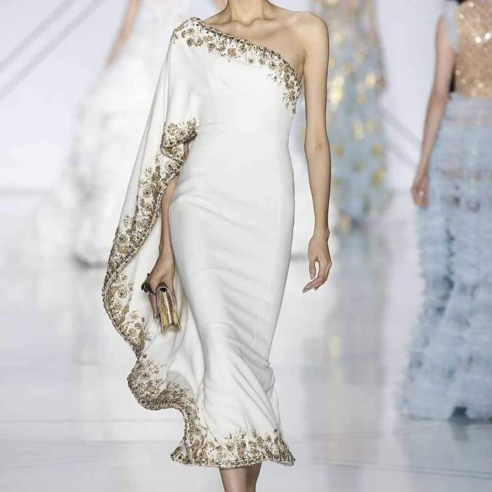 Printed One-Shouldered Fashion Dress