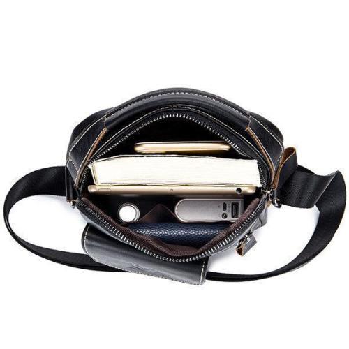 Bullcaptain Genuine Leather Business Messenger Bag Vintage Cross Body Bag For Men