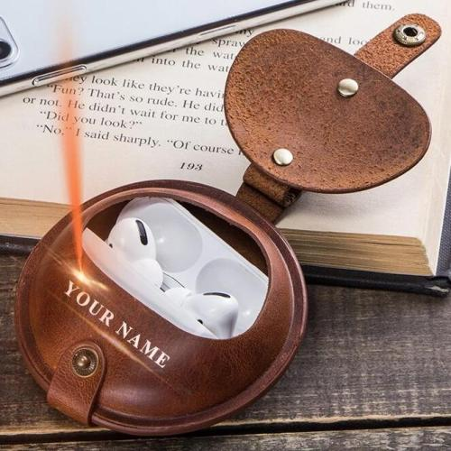 Custom Name Luxury Cow Leather Coin Purse Case For New Apple AirPods Pro
