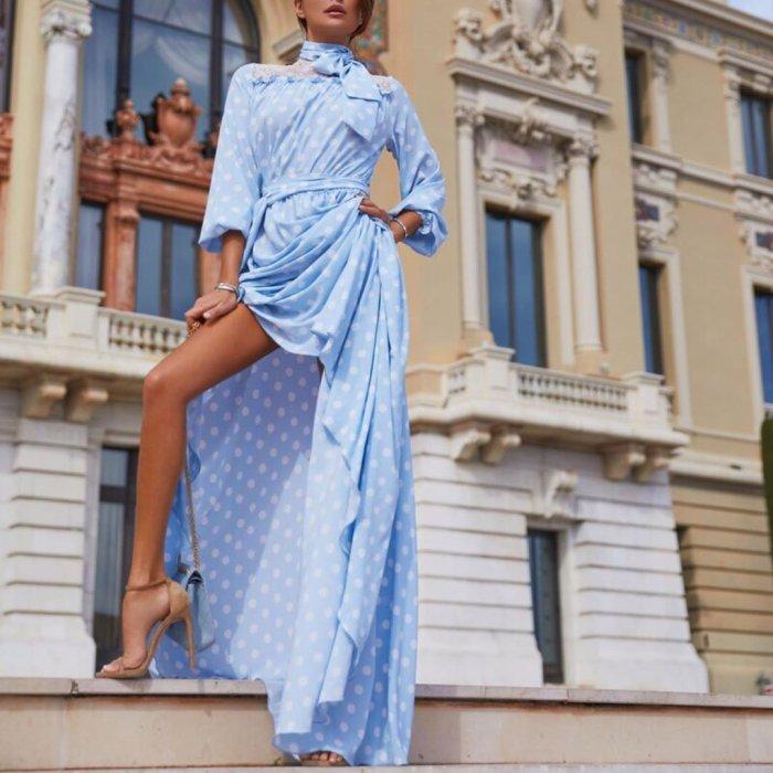 Sexy Polka Dot Long Sleeve Slit Dress(Video)