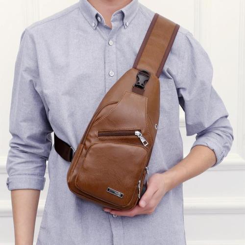 USB men portable charging casual Messenger bag   outdoor sports chest bag