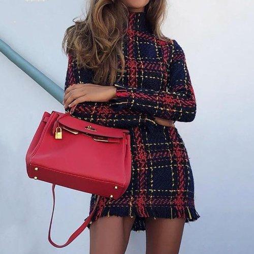 Long Sleeve Frayed Hem Tweed Dress