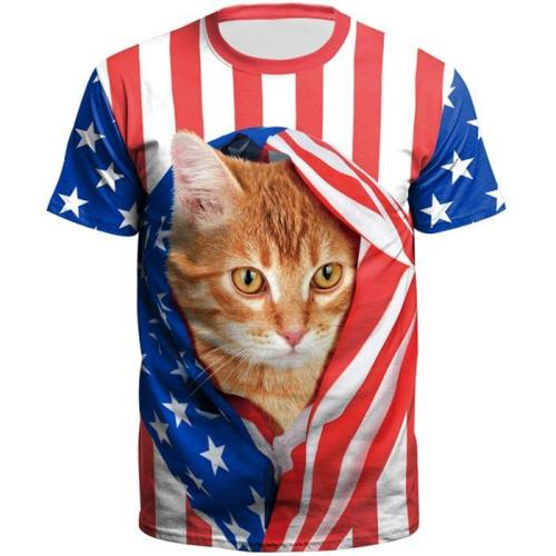 3D Flag Cat Printed Short Sleeve T-shirt