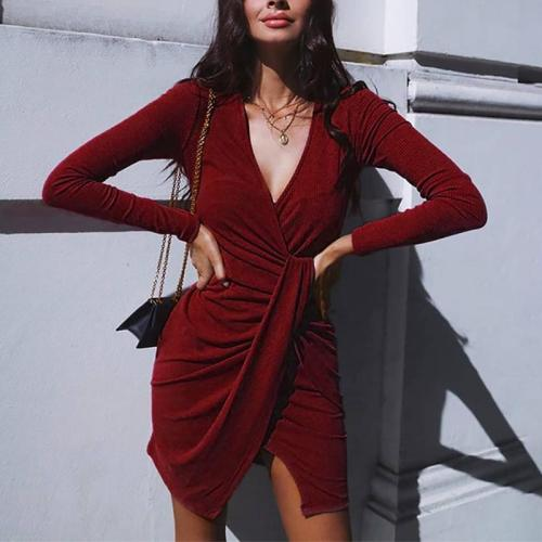 Women's Casual Round Neck Long Sleeve Pure Color Resist Dress