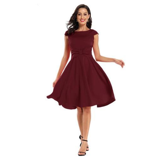 Fashion round neck bowknot evening dress Collect waist big pendulum evening dresses elegant short evening gown