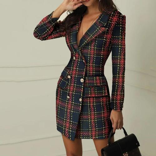 Solid Double Breasted Slit Blazer Dress