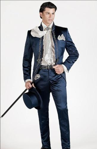 New style Customize made Slim Fit Groomsmen embroidery Groom Tuxedos white Navy Men Suits Wedding Best Man(Jacket+Pants+Tie)