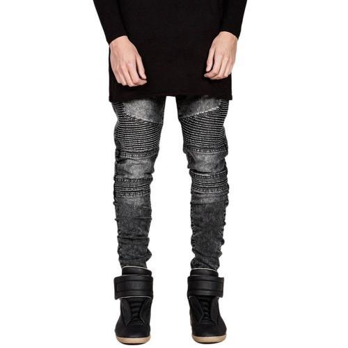 Shirred Stitching Biker Jeans