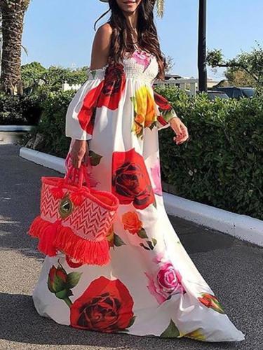 Sexy Printed Tube Top Maxi Dress Evening Dress