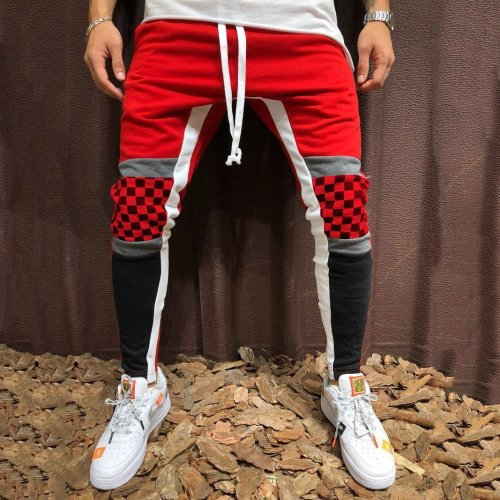 Casual Sweatpants Plaid   Colorblock Stitching Pants