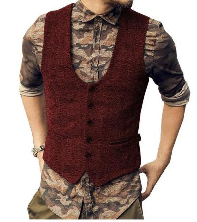 Men's Wool Tweed Slim Fit Leisure Cotton Suit Vest Gentleman Herringbone Pattern Waistcoat Beckham business Brown Wedding Groom