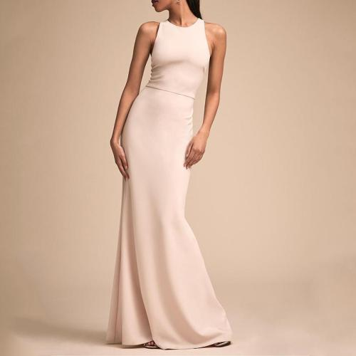 Fashion Bare Back Across Sleeveless Pure Colour Evening Dress