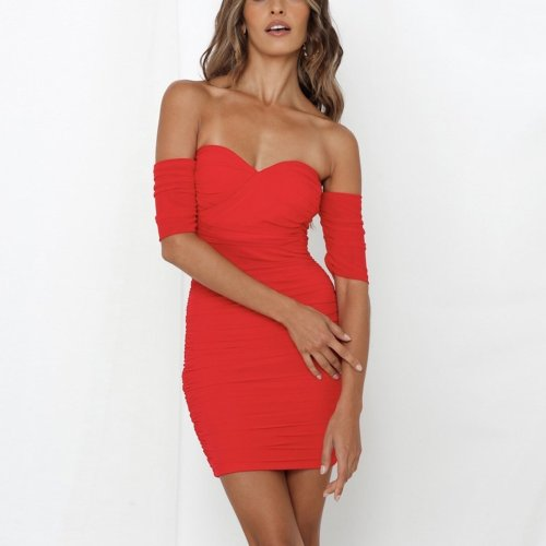 Mesh off shoulder elegant bodycon backless mini party dress