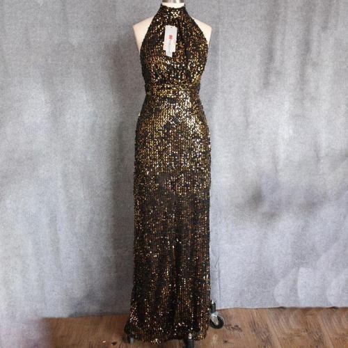 Sexy Halter Black Sequin Halter Sleeveless Evening Dress