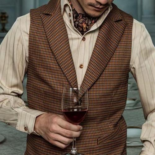 Mens Classic Vintage Check Buttoned Vest