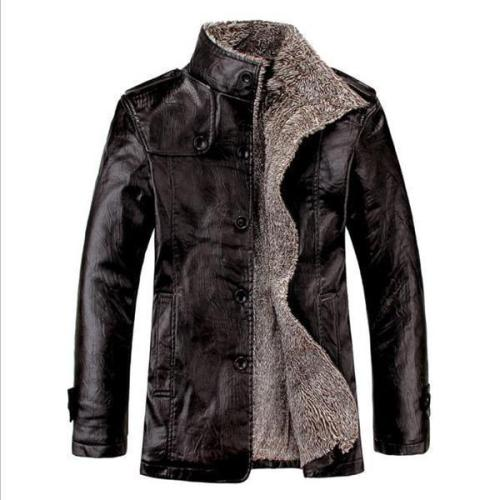 Stylish Casual Youth Thermal Leather Button Long Sleeve Men Outerwear