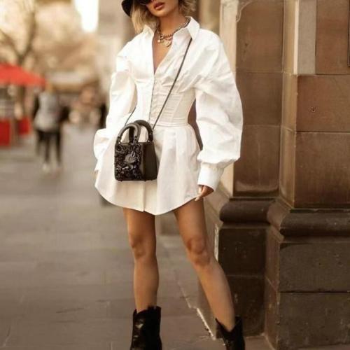 Women's waist V-neck Lantern sleeve shirt skirt