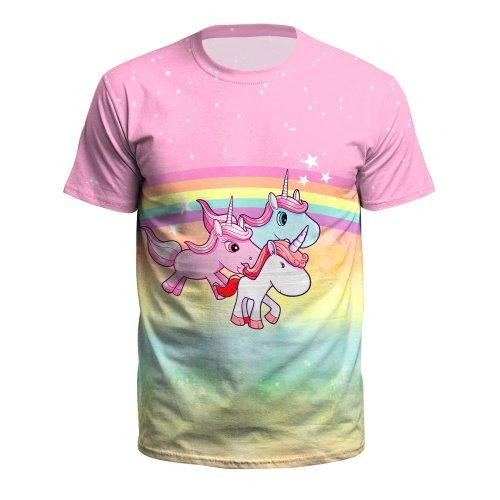 Cute Unicorn Printed Round Neck Pullover Short Sleeve T-shirt