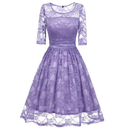 Vintage Lace evening dress fashion Round collar Elegant Party Sexy formal dress Hollow out evening gown party dresses