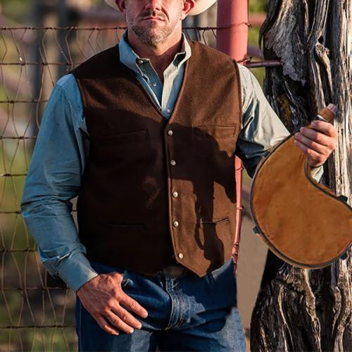 Men's Casual V-neck Sleeveless Cardigan Vest